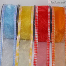 Organza Transparent Ribbon 25mm or 40mm Wide with Gingham Ribbon Edges