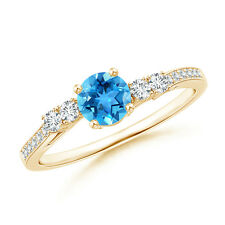 Classic Blue Topaz Solitaire Ring with Diamond Accents 14k Yellow Gold/ Silver