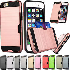 Slot Holder Cover With ID Credit Card Slim Sleek Case For iPhone/Samsung P0046