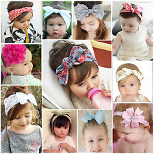 Baby Girl Lace Flower Bow Headband Hairband Headwrap Turban Soft Bunny Hair Band