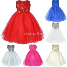 Kids Girls Sequined Tutu Formal Party Wedding Pageant Communion Princess Dress