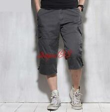 Mens Loose Cargo Summer Overalls Cropped Trousers Casual Pants outdoor shorts
