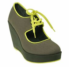 Volatile Kicks Women's Clownin Wedge Platform Maryjane Shoes Grey $70