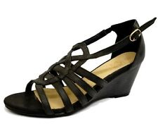 LADIES BLACK WEDGES LEATHER GLADIATOR COMFY PEEP-TOE STRAPPY SANDALS SHOES 3-8