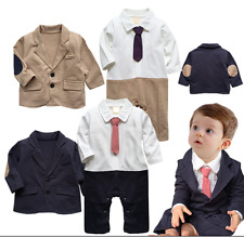 Baby Boy Wedding Christening Tuxedo Formal Party Suits+Jacket Outfits Set 3-24M