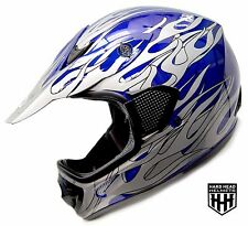 Youth Kids Blue Flame Dirt Bike Style Youth Model S M L Motocross Helmet ATV MX
