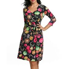 Zeagoo Women's Crossover V-Neck 3/4 Sleeve Floral A-Line Dress w/ WT8801