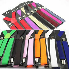 Men Womens Solid Color Elastic Clip-on  Y-Shape Adjustable Braces Suspenders NEW