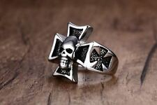 Male Silver Color Plated Stainless Steel Cross with Skull Ring Jewelry VD098