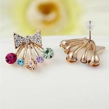 Women Fashion Gold Color Cute Colorful Crystal Stud Earring JEZ018