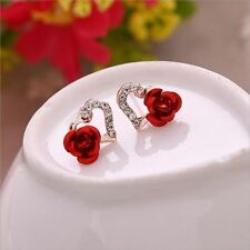 Women New Fashion Gold Color Rhinestones Decorated Flower Stud Earring