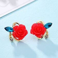 New Fashion Crystal Classic Gold Color Flower Stud Earring For Women