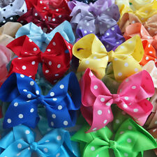 "6"" Inch Big Large Polka Dot Ribbon Hair Bow Alligator Clip Grip  40 Colours"