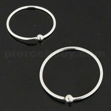 22 Gauge 925 Sterling Silver Open Hoop 1.5 mm Ball BCR Nose and Ear Tragus Ring