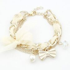 Women Fashion Pearl Decorated Link Chain Zinc Alloy Metal Casual Bracelet