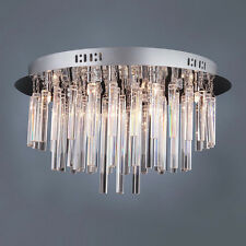 Modern Chrome12 Halogen Lamp Ceiling Light Chandelier with Clear Crystal Tubes
