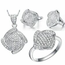 Women Necklace Earrings And Ring Crystal Silver Wedding Jewelry Set