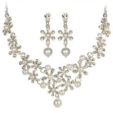 Women Crystal Simulated Pearl Flower Necklace Earring Pendant Jewelry Set