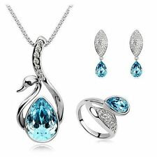 Women Crystal Fashion Pendant Necklace Earring Ring Jewelry Set