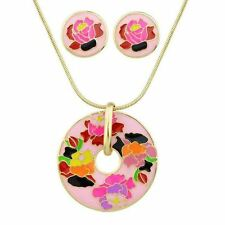 Women Style Gold Color Print Round Pendant Necklace Earring Jewelry Set