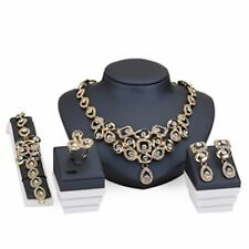 Women Fashion Beads Fake Crystal Earrings Pendant Necklace & Ring Jewelry Set
