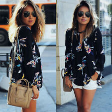 Women Long Sleeve Blouse Sheer Summer Floral Shirt Tops Ladies Casual T-shirt 6y