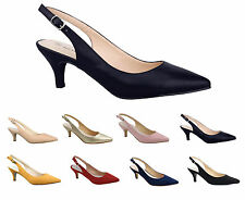 Greatonu Womens Low Kitten Heel Sandals Sexy Pointed Toe Soft Dress Court Shoes