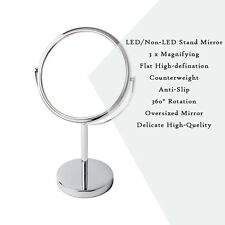 Double-Sided LED Makeup Cosmetics Mirror Normal and 3 X Magnifying Stand Mirrors