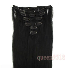 """15""""18""""20""""22""""24""""26""""28 7PCS Clip In Remy Human Hair Extensions Jet Black Straight"""