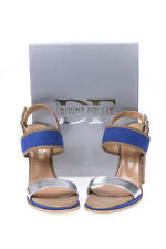 Divine Follie Sandals Shoes -45% Leather MADE IN ITALY Woman Blues 59516A-1102