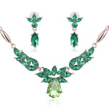 Women Fashionable Gold Plated 3 Color Necklace Earring Wedding Jewelry Set