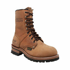AdTec Womens Brown 9in Logger Crazy Horse Leather Work Boots