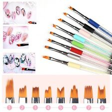8 Styles Nail Brush Petal Pen Acrylic Crystal Line Flower Paint Drawing 3D DIY