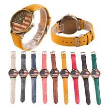 Casual American Flag Unisex Stainless Steel Leather Analog Quartz Wrist Watches