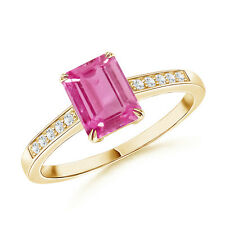 Emerald Cut Pink Sapphire Cocktail Ring with Diamond 14K Yellow Gold Size 3-13
