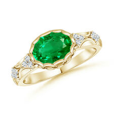 Natural Oval Emerald Vintage-Style Ring with Diamond 14K Yellow Gold Platinum