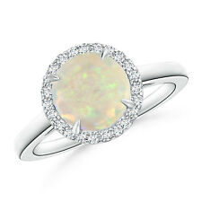 Cathedral Round Opal Diamond Halo Ring 14K White Gold/ Platinum Size 3-13