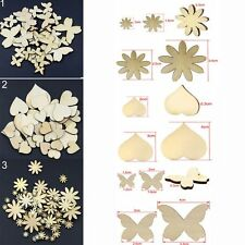 50Pcs Sizes Fitted Craft Scrapbooking Buttons Wood Flower Butterfly Heart