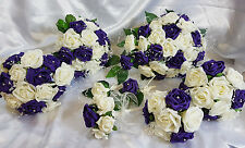 Wedding Flowers Ivory Purple Brides Bridesmaids Bouquet Pearl Wands Cake Toppers