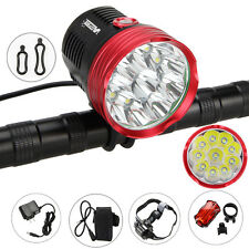 30000LM 10x XM-L T6 LED Head Bicycle Bike light Headlamp Rechargeable 12000mAh