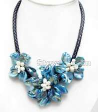 Big Blue Baroque Shell Flower & Pearl pendant Black Rope 18'' Necklace-nec6334