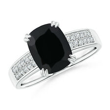Cushion Cut Black Onyx Ring with Diamond Accents 14k White Gold Size 3-13