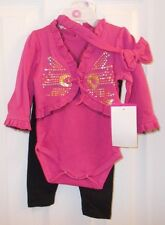 NEW WITH TAGS BABY GIRLS PINK AND BLACK AKADEMIKS 3 PIECE OUTFIT