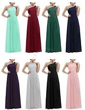Elegant Women's Long Ball Gown Dress Bridesmaid Prom One Shoulder Evening Party