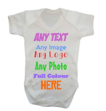 ANY NAME TEXT IMAGE PICTURE LOGO Personalised Custom Baby Grow Vest bodysuit one