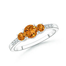 Three Stone Round Citrine Ring with Diamond Accents in 14k White Gold Size 3-13