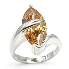 Sterling Silver Simulated Citrine Ring Peach Cubic Zirconia Size 6 7 8 9 USA