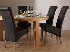 Brighton & Richmond Round Oak Dining Table and 4 6 Leather Chairs Set (Brown)