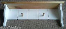 Hand made by craftsman country shabby chic painted & waxed shelf 2 shaker pegs
