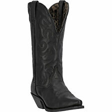 Laredo Womens Black Leather Access Deep Dip Snip Toe Cowboy Boots